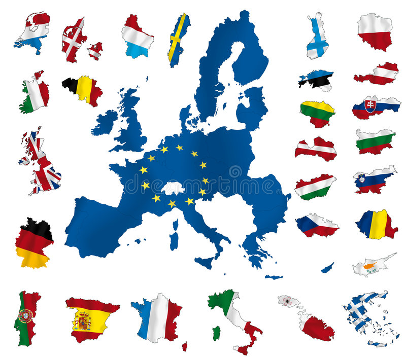 European union. Vector map of Europe and European Union (blue countries) with flags of all countries (2008 royalty free illustration