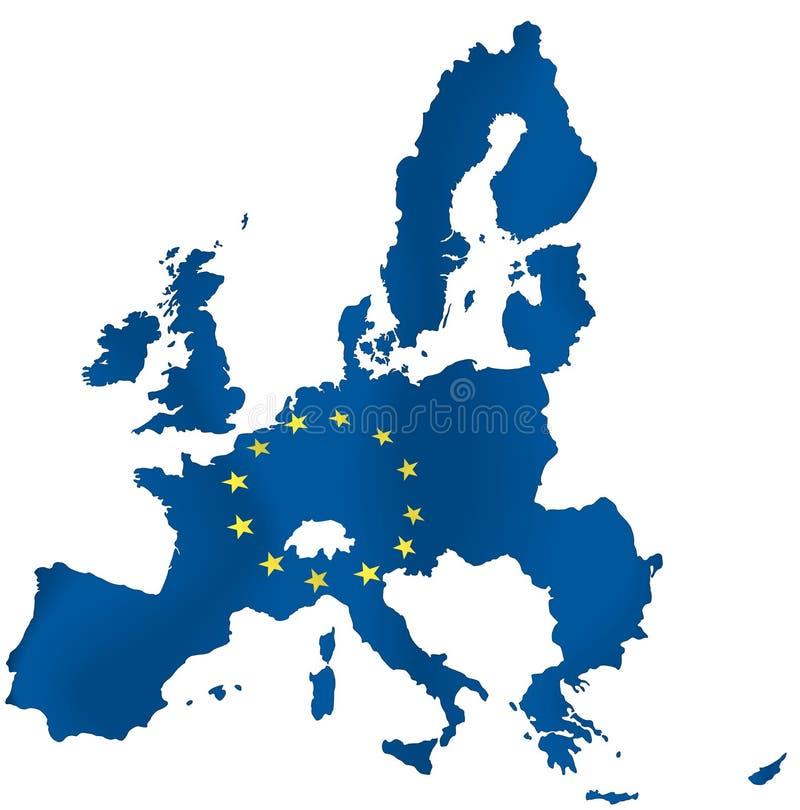 European union. Contour map of European Union with yellow EU stars. Vector illustration royalty free illustration