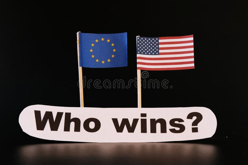 European union and America fighting for bigger power in the world. Black background stock photography
