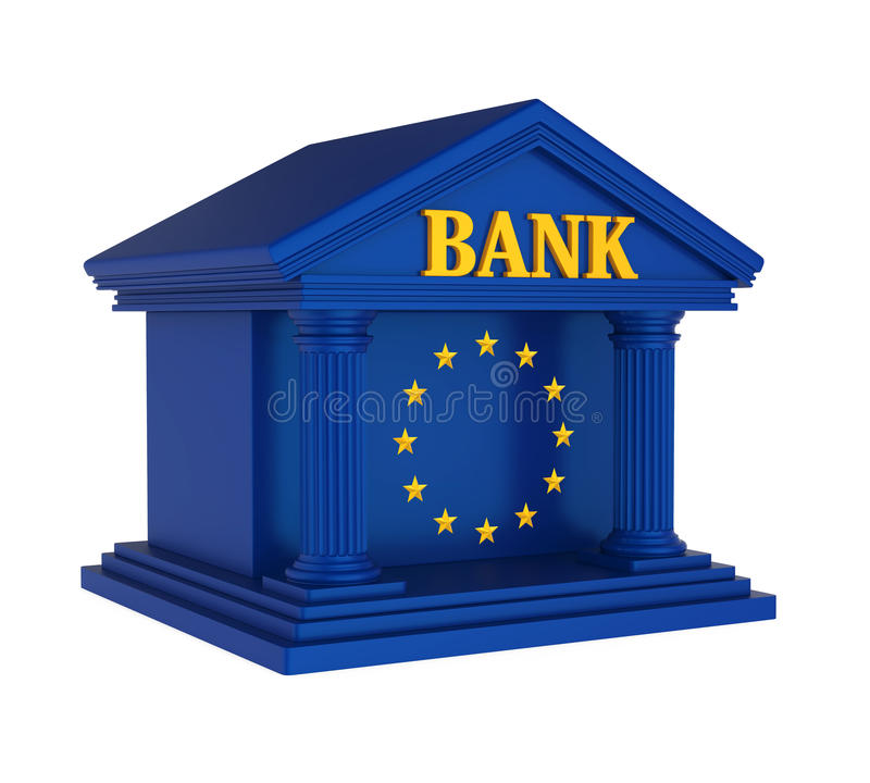 European Union Bank Building Isolated royalty free illustration
