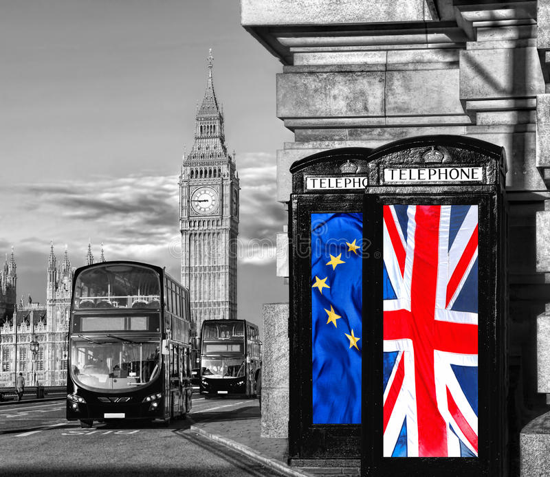European Union and British Union flag on phone booths against Big Ben in London, England, UK, Stay or leave, Brexit. European Union and British Union flag on stock images
