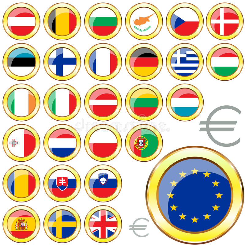 Download European Union buttons stock vector. Illustration of border - 28826909