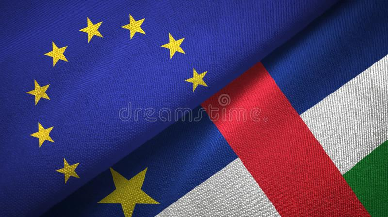 European Union and Central African Republic two flags textile fabric texture vector illustration