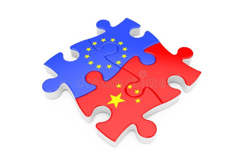 European Union and China Cooperation Puzzle as Flags. 3d Rendering vector illustration