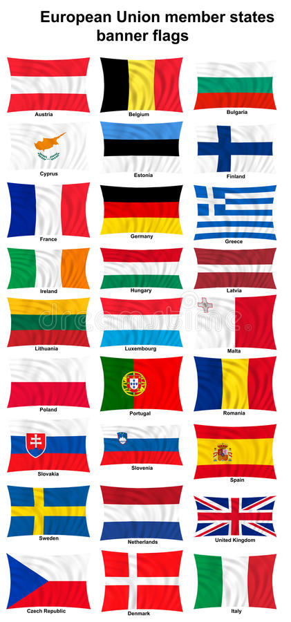 Download European Union Countries Flags Stock Illustration - Illustration of wind, wall: 22455054