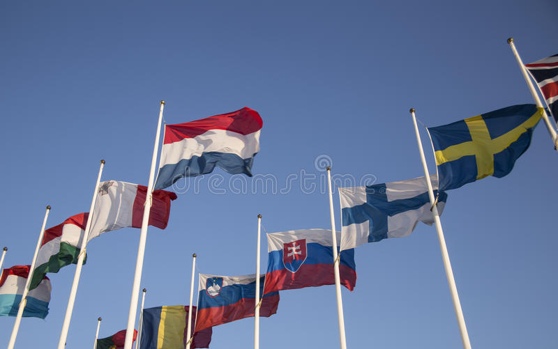 European Union countries flags. Waving in the wind royalty free stock photography