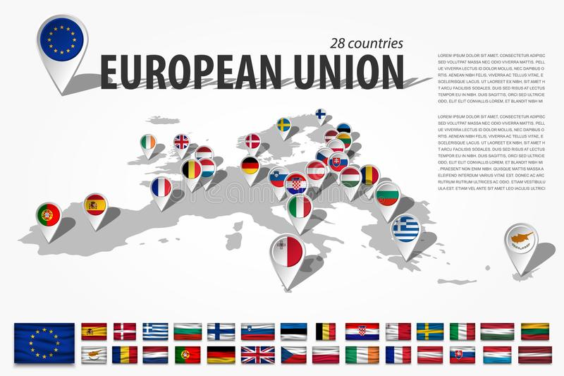 European union 28 countries and GPS navigator location pin with national flag on perspective europe continent map . And set of wav stock illustration