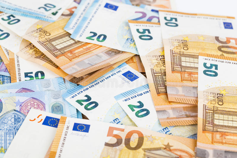 European union currency euro banknotes bills background. 2, 10, 20 and 50 euro. Concept success rich economy. On white background royalty free stock photography