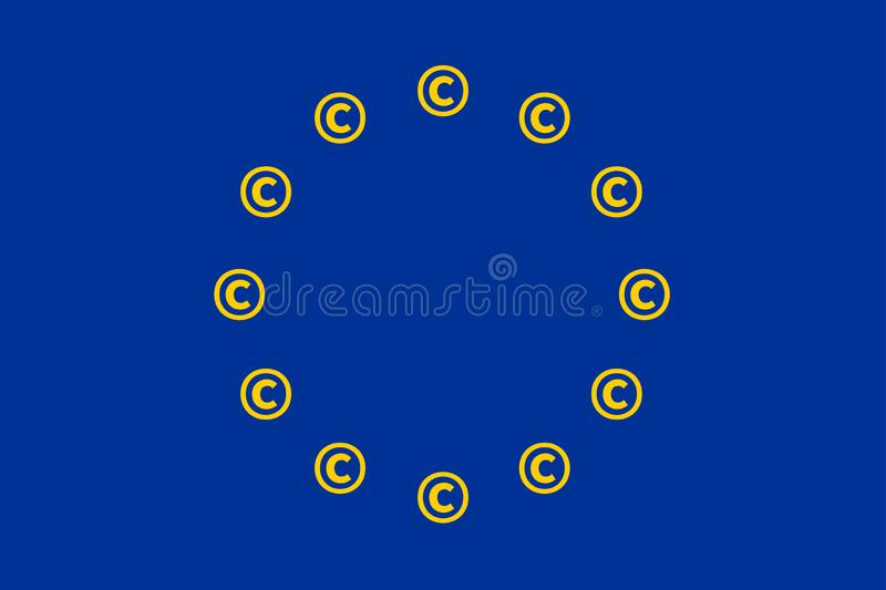 European Union EU Flag Copyright Symbols royalty free illustration
