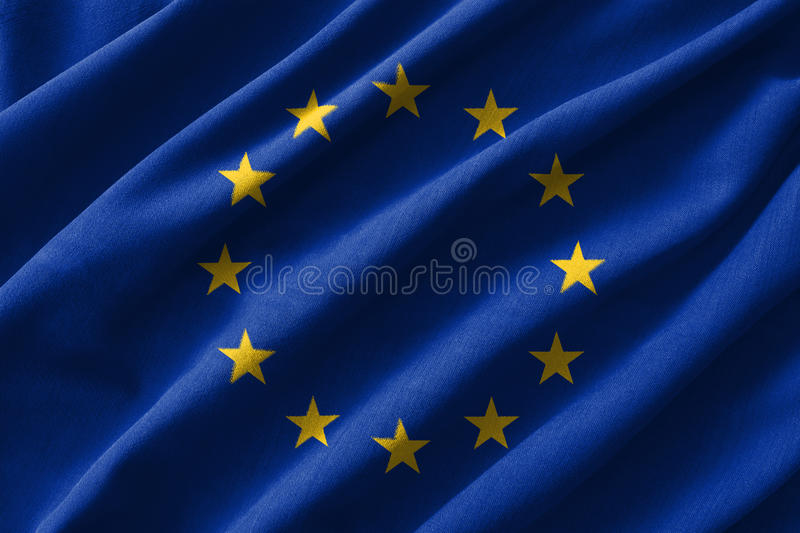 European Union & x28; EU & x29; flag painting on high detail of wave cotton fabrics . 3D illustration vector illustration