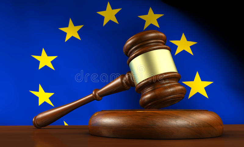 European Union EU Law And Justice vector illustration