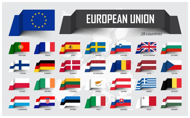 European Union . EU and membership . Association of 28 countries . Floating paper flag design on Europe map background . Vector stock illustration