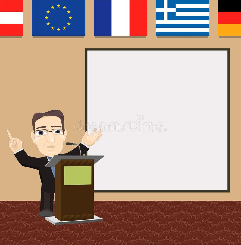 European Union EU Politician Giving Speech Podium stock photo