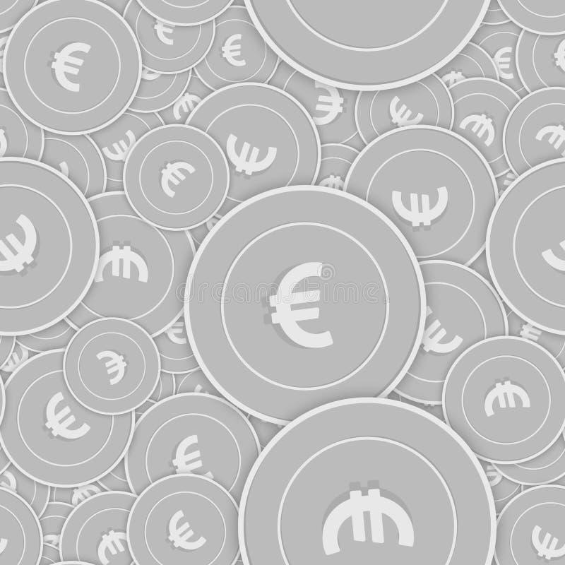 European Union Euro silver coins seamless pattern. royalty free illustration