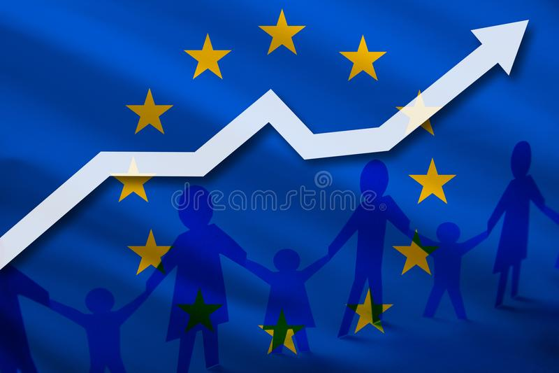 European Union flag on a background of growing arrow up and people with children holding hands. Demographic growth of the country royalty free illustration