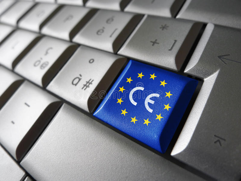 European Union Flag CE Marking. European Union and EU community CE marking concept with sign and symbol on a computer key stock images