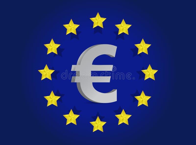 European Union Flag And Euro Symbol Illustration Royalty Free Stock Photos