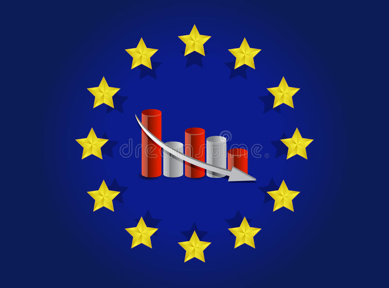 European Union Flag And Falling Graph Royalty Free Stock Photo