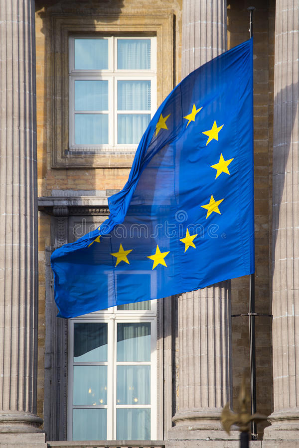 European Union Flag on Federal Parliament of Belgium in Brussels. stock images