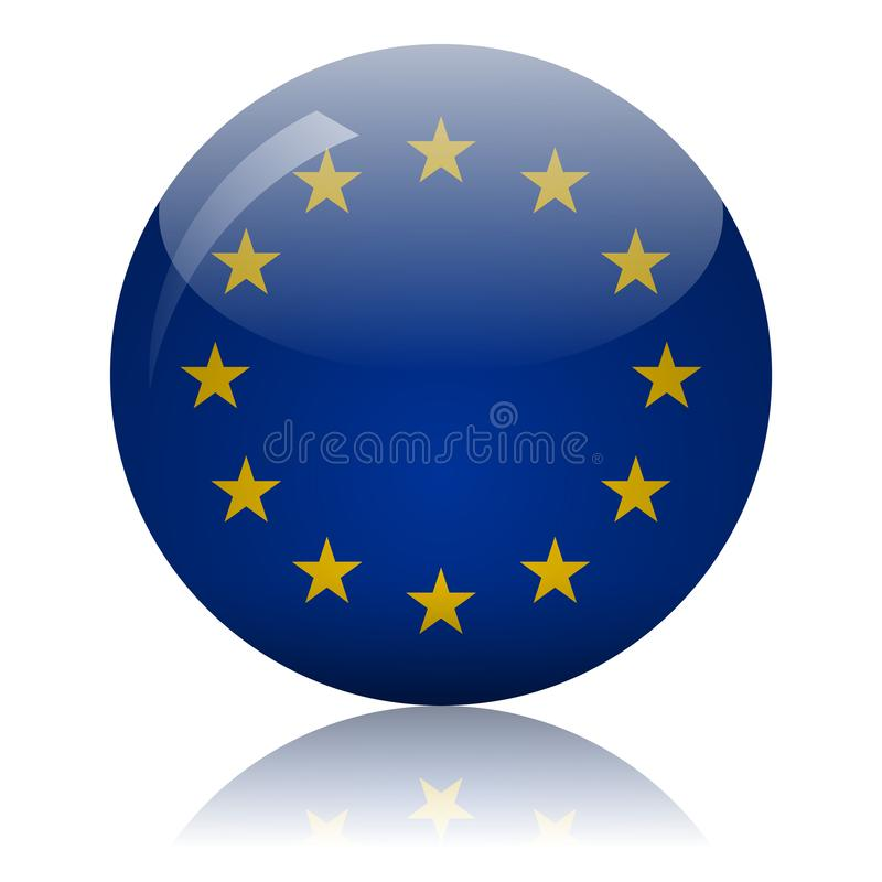 European Union flag glass icon vector illustration. European Union flag glass ball on light mirror surface vector illustration vector illustration