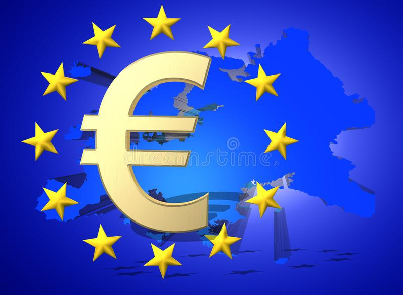 European Union Flag With Golden Euro Currency Symbol 3d Render