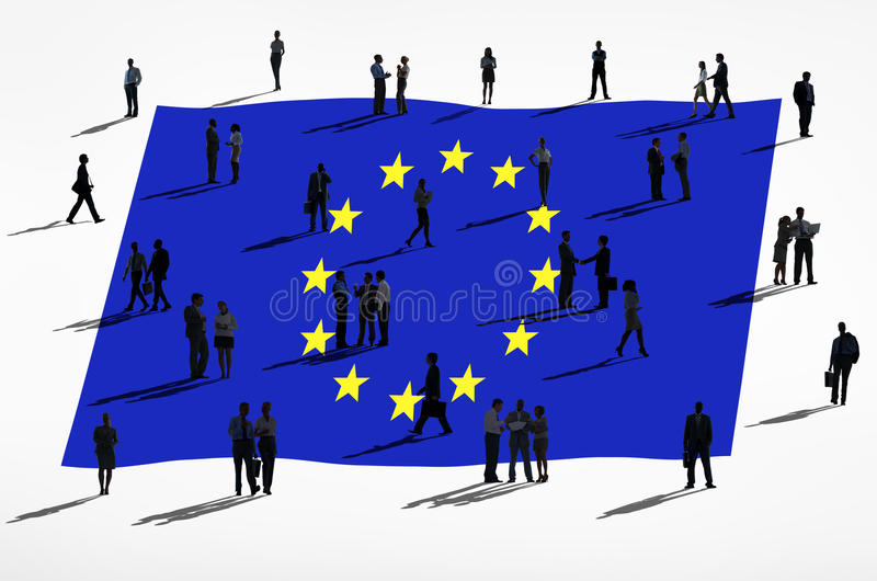 European Union Flag and Group Of People. European union and a group of people royalty free illustration