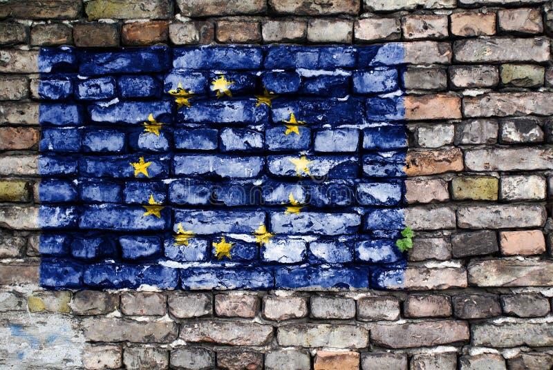 European Union flag painted on old brick wall