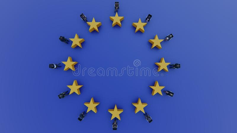 European Union flag politicians sit and discuss in parliament royalty free illustration