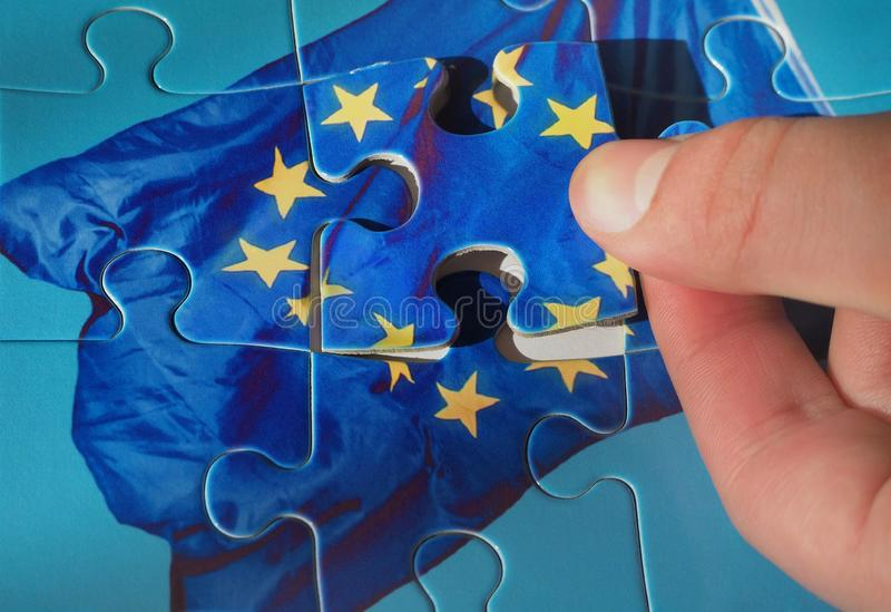 Puzzle with European Union flag. Brexit concept royalty free stock photography