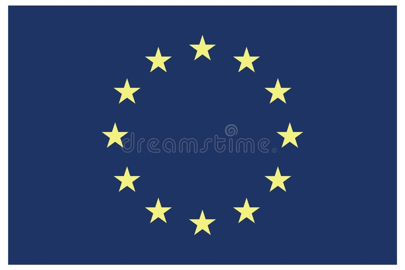 European union flag with stars in circle. Euro flag eps10.Flag of European Union with correct proportions and color scheme vector illustration