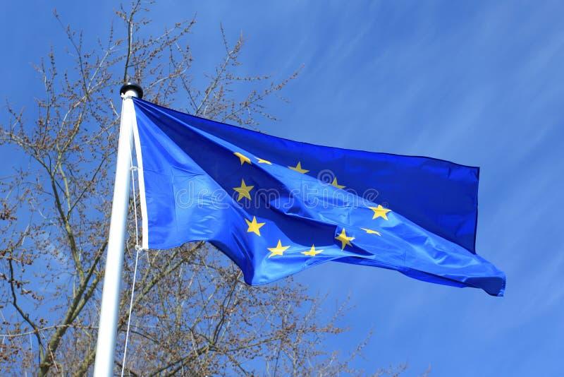 European Union flag. The waving European Union flag on the pole stock photography