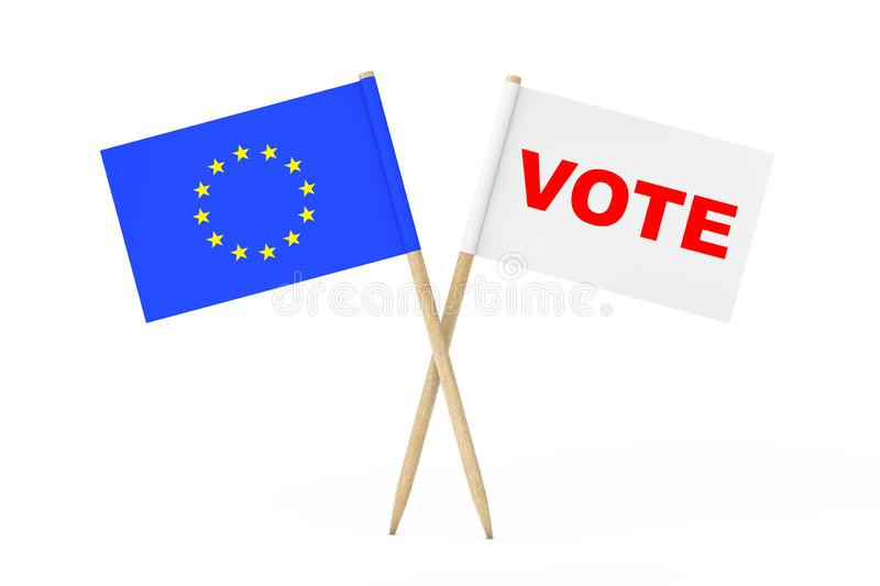 European Union Flag and White Flag with Vote Sign. 3d Rendering vector illustration