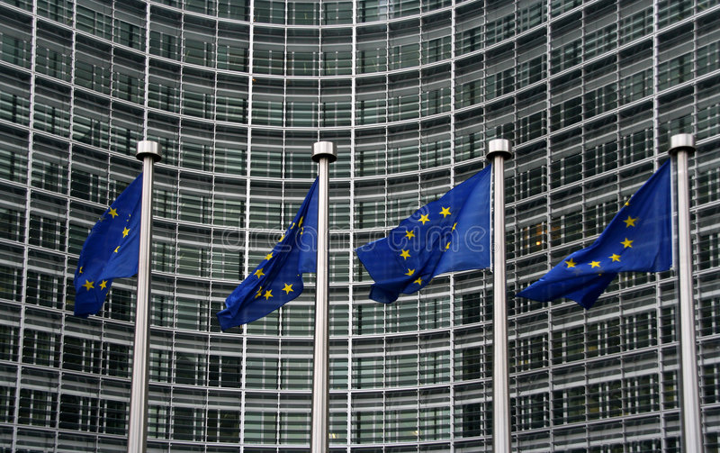 European Union Flags. At the Berlaymont building in Brussels, Belgium stock images