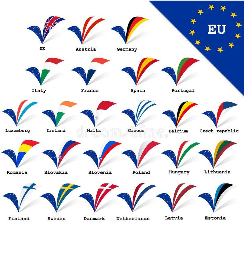 European Union flags. European Union Countries flags set royalty free illustration