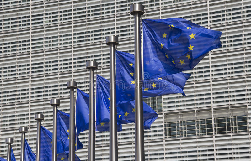 European Union Flags In Brussels Stock Photo
