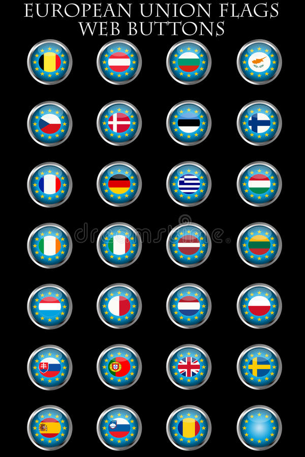 Download European Union Flags Buttons Stock Vector - Image: 19287997