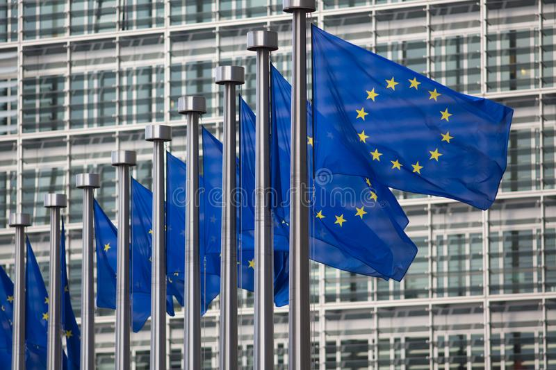 European Union flags in front of Berlaymont building, Brussels, Belgium stock images
