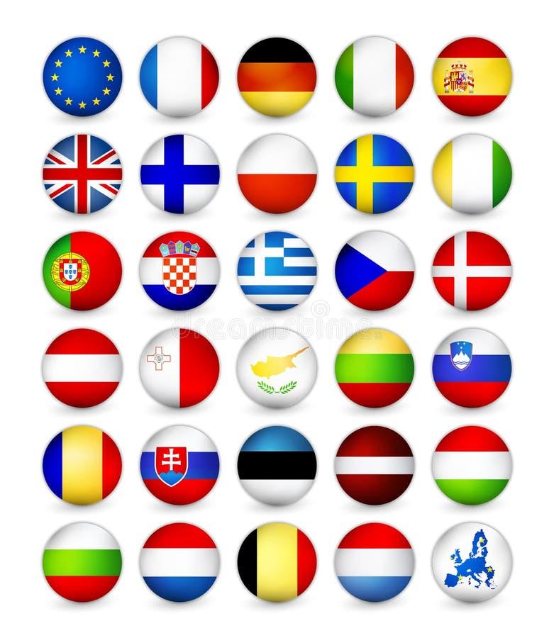 European Union Flags round badges vector illustration