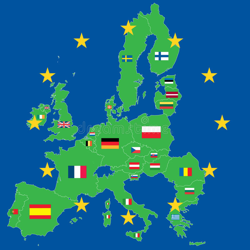 Download European Union Green Map Over Blue Stock Vector - Illustration of italy, denmark: 13775402