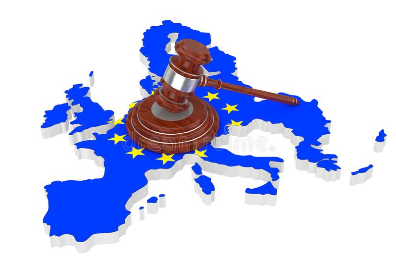 European Union Justice Concept. Wooden Justice Gavel with Soundboard over EU Map with Flag. 3d Rendering royalty free illustration