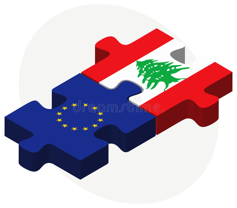 European Union and Lebanon Flags in puzzle. Vector Image - European Union and Lebanon Flags in puzzle isolated on white background royalty free illustration