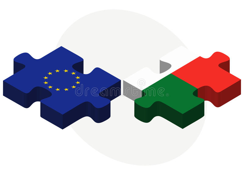 European Union and Madagascar Flags in puzzle. Vector Image - European Union and Madagascar Flags in puzzle isolated on white background stock illustration