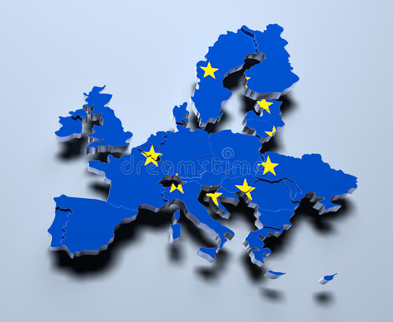 European Union Map 3d rendered image royalty free illustration