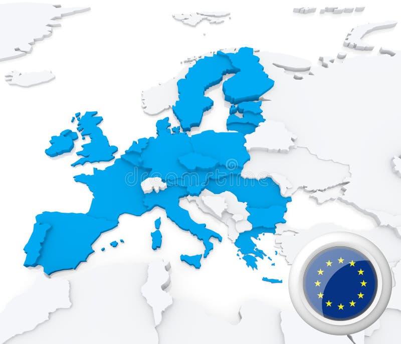 European union on map of Europe vector illustration