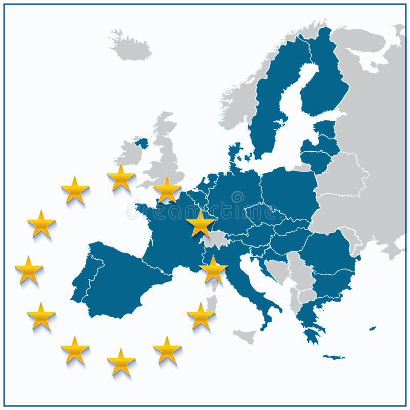 European Union map. With new 27 number of states excluding United Kingdom vector illustration