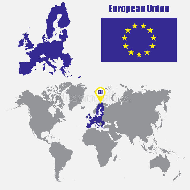 European union map on a world map with flag and map pointer vector download european union map on a world map with flag and map pointer vector illustration gumiabroncs Images