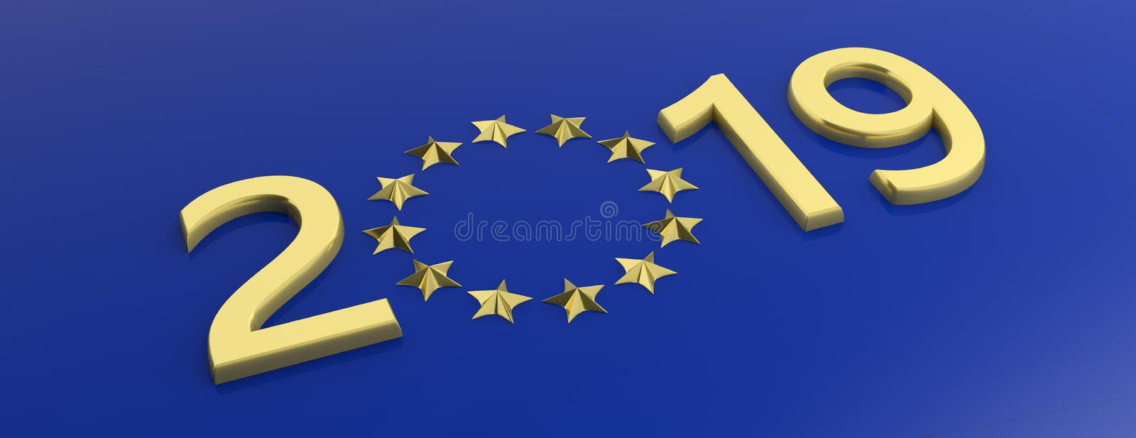 European Union election. Gold 2019 number and a a golden stars circle on blue background. 3d illustration stock illustration
