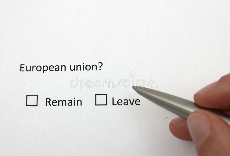 European union remain or leave. Referendum about membership of the European union. Europe future concept. Photo stock photo