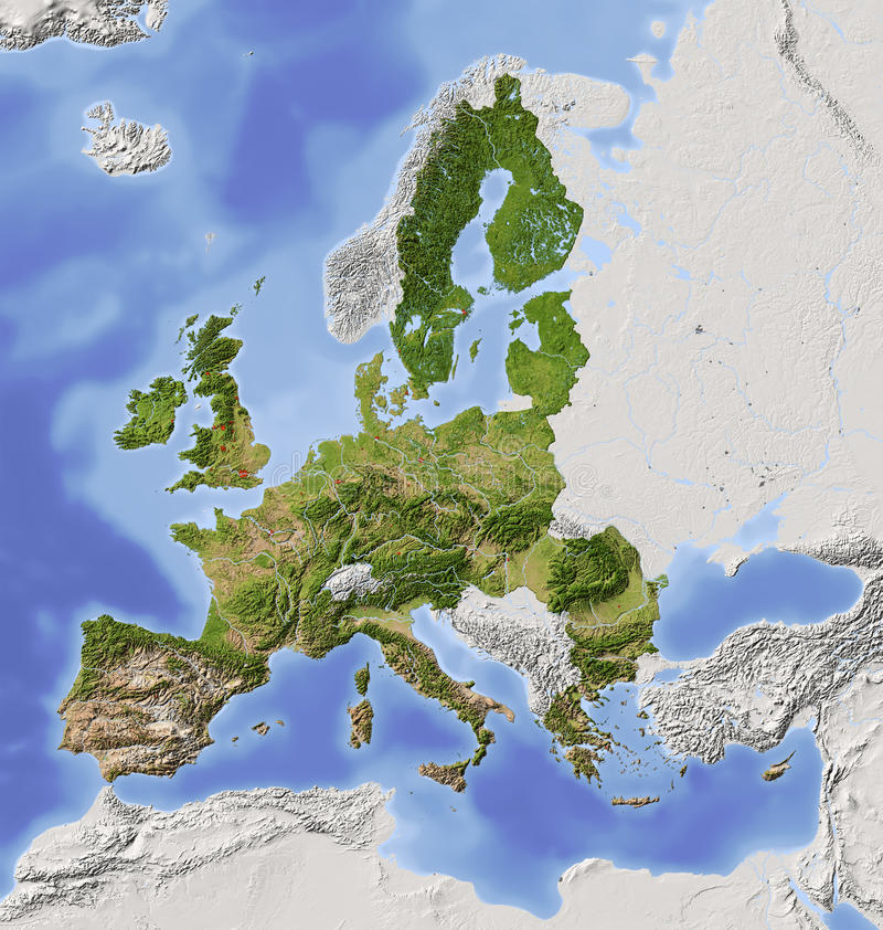 European Union Shaded Relief Map Royalty Free Stock Images - Sweden relief map
