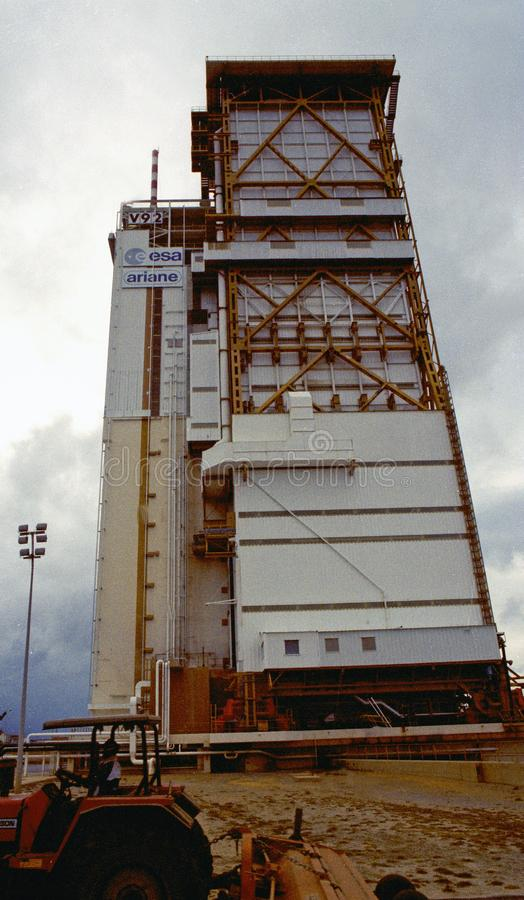 The European Union Space Mission ramp in Kourou, South America: A huge transporter for the space shuttle royalty free stock photo
